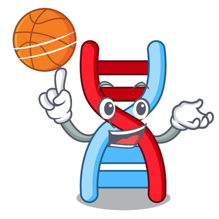 With basketball dna molecule character cartoon vector illustration