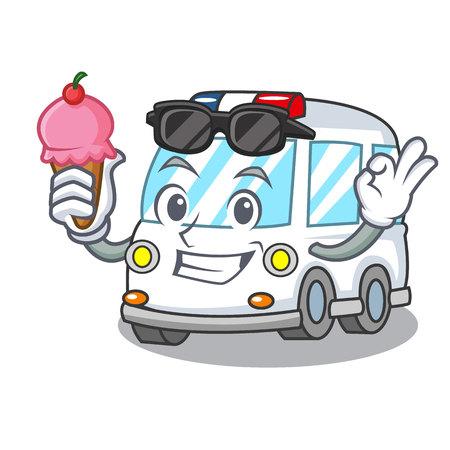 With ice cream ambulance character cartoon style Illustration