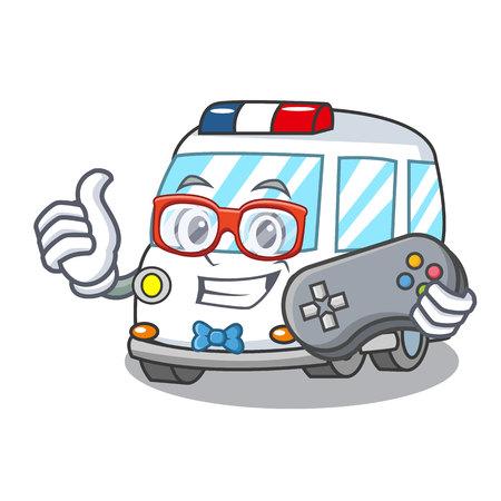 Gamer ambulance mascot cartoon style vector illustration Illustration