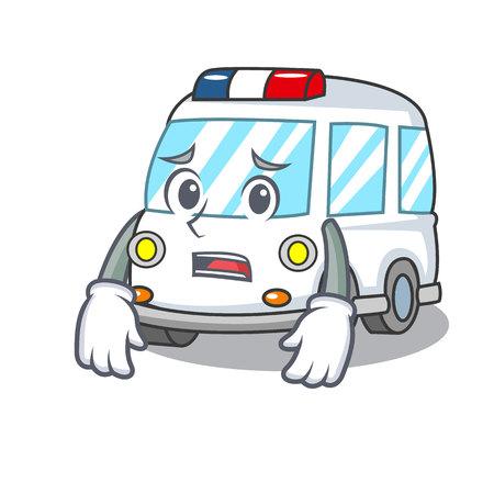 Afraid ambulance mascot cartoon style vector illustration