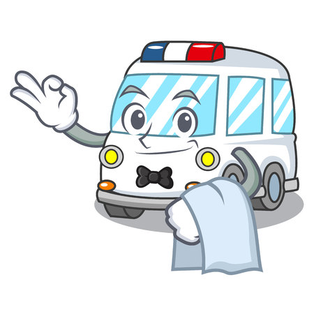 Waiter ambulance mascot cartoon style vector illustration Illustration