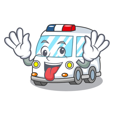 Crazy ambulance mascot cartoon style vector illustration
