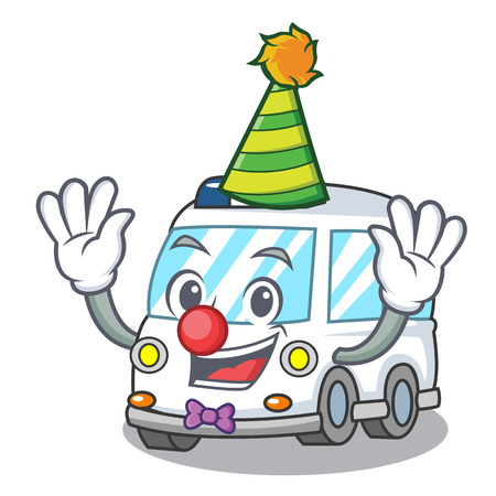Clown ambulance mascot cartoon style vector illustration Stock Illustratie