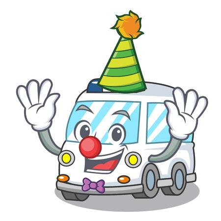 Clown ambulance mascot cartoon style vector illustration Vectores