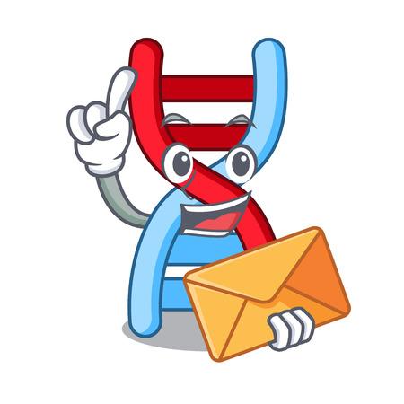With envelope dna molecule character cartoon 向量圖像