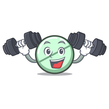 Fitness drug tablet character cartoon
