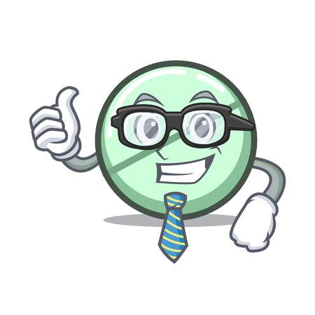 Businessman drug tablet character cartoon vector illustration