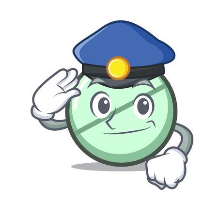 Police drug tablet character cartoon Illustration
