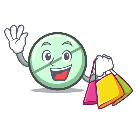 Shopping drug tablet character cartoon Illustration