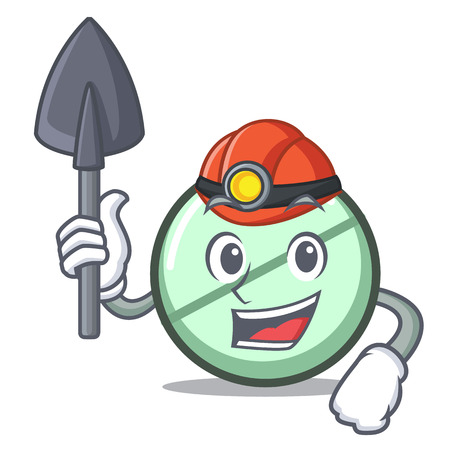 Miner drug tablet mascot cartoon