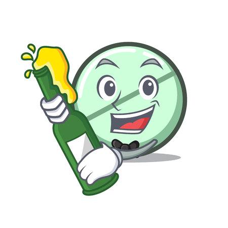 With beer drug tablet mascot cartoon illustration. Illustration