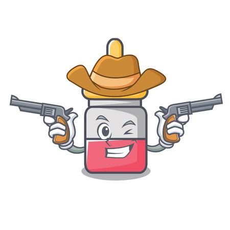 Cowboy nose drop character cartoon illustration. Illustration