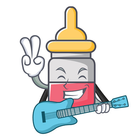 With guitar nasal drop mascot cartoon vector illustration
