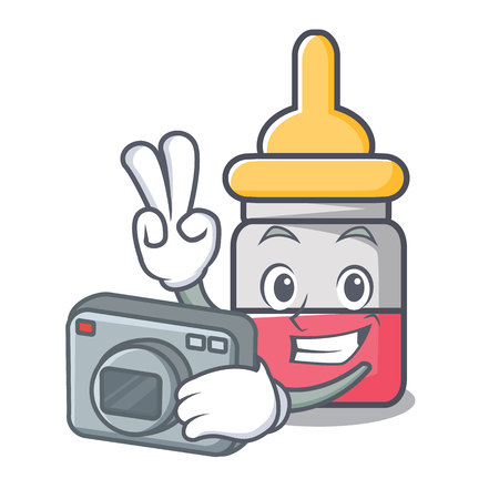 Photographer nasal drop mascot cartoon vector illustration
