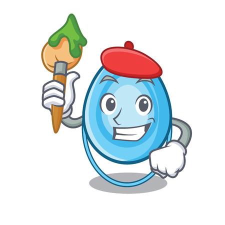 Artist oxygen mask character cartoon vector illustration Illustration