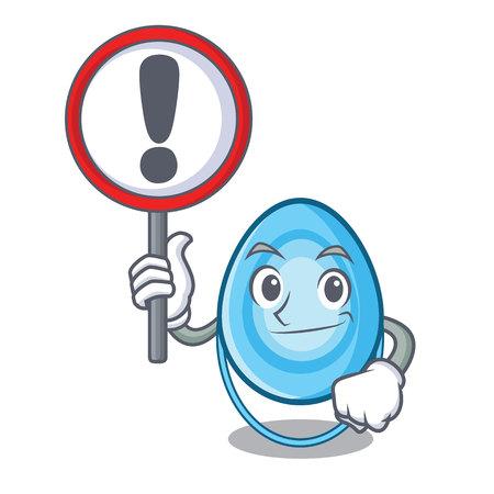 With sign oxygen mask character cartoon vector illustration Ilustração