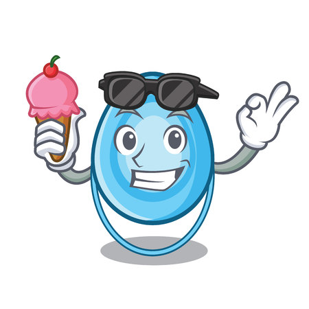 With ice cream oxygen mask character cartoon vector illustration