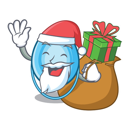 Santa with gift oxygen mask mascot cartoon vector illustration