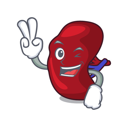 Two finger spleen character cartoon style