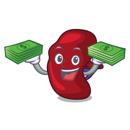 With money bag spleen mascot cartoon style vector illustration