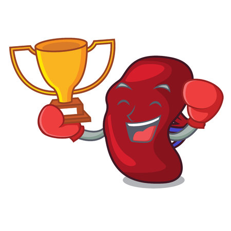 Boxing winner spleen mascot cartoon style vector illustration Çizim