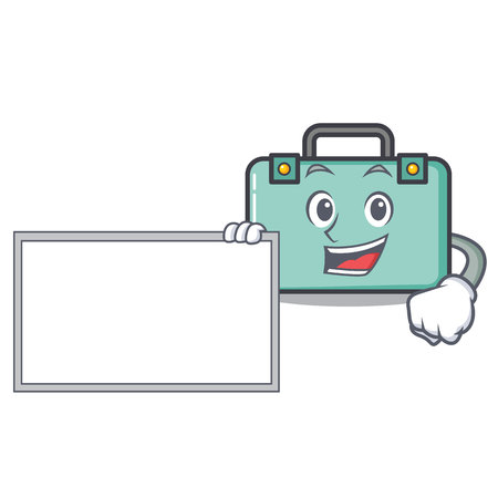 With board suitcase character cartoon style vector illustration