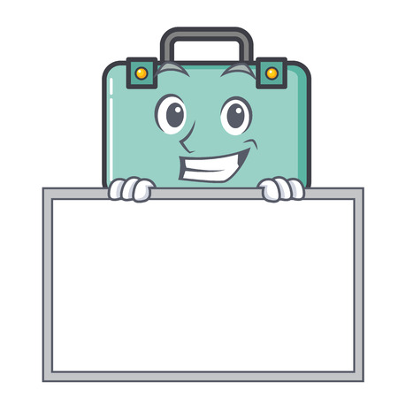 Grinning with board suitcase character cartoon style vector illustration