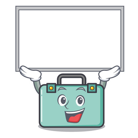 Up board suitcase character cartoon style vector illustration.