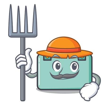 Farmer suitcase character cartoon style vector illustration Illustration