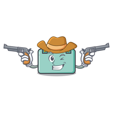 Cowboy suitcase character cartoon style vector illustration