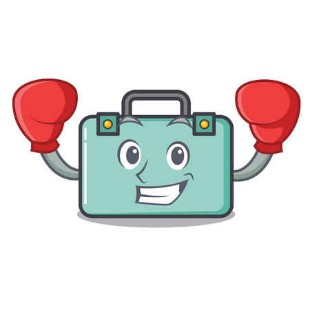 Boxing suitcase character cartoon style vector illustration Illustration
