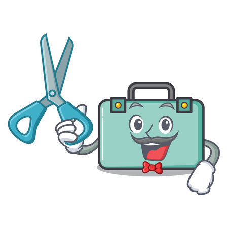 Barber suitcase character cartoon style vector illustration