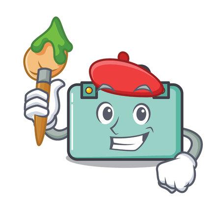 Artist suitcase character cartoon style vector illustration