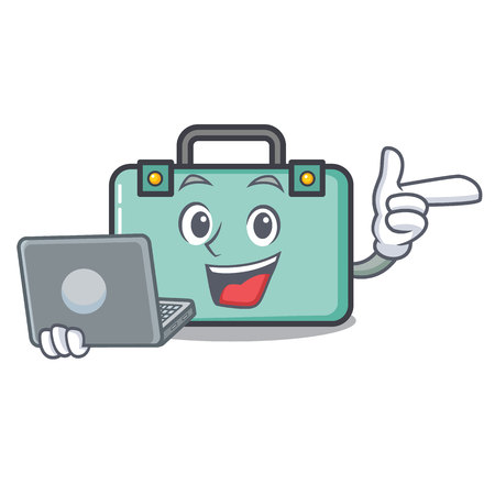 With laptop suitcase character cartoon style vector illustration
