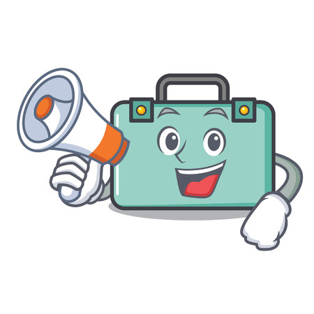 With megaphone suitcase character cartoon style vector illustration