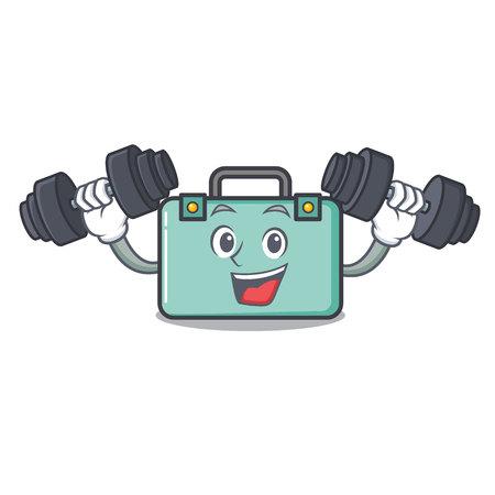 Fitness suitcase character cartoon style vector illustration.