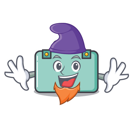 Elf suitcase character cartoon style vector illustration.