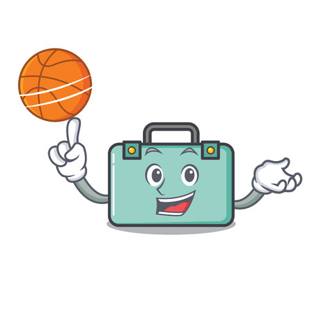 With basketball suitcase character cartoon style. Illustration