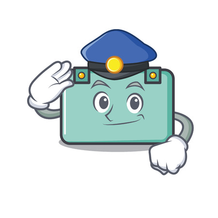 Police suitcase character cartoon style. Illustration
