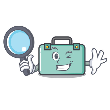 Detective suitcase character cartoon style