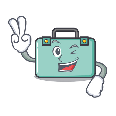 Two finger suitcase character cartoon style Illustration
