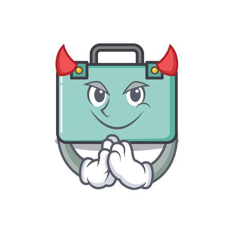 Devil suitcase mascot cartoon style vector illustration