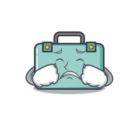 Crying suitcase mascot cartoon style vector illustration