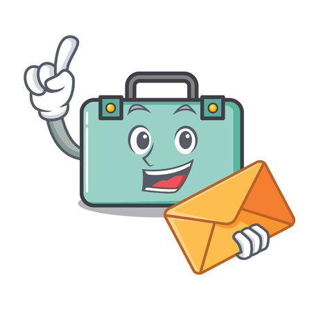 With envelope suitcase character cartoon style vector illustration