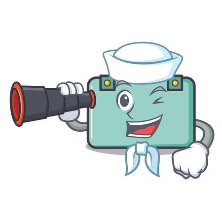 Sailor with binocular suitcase mascot cartoon style vector illustration