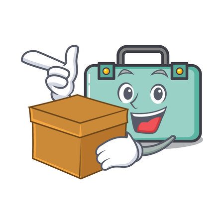 With box suitcase character cartoon style vector illustration