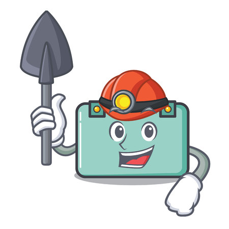 Miner suitcase mascot cartoon style vector illustration