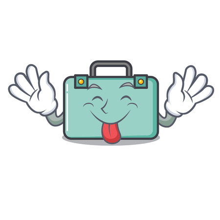Tongue out suitcase mascot cartoon style vector illustration