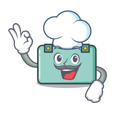Chef suitcase character cartoon style Illustration