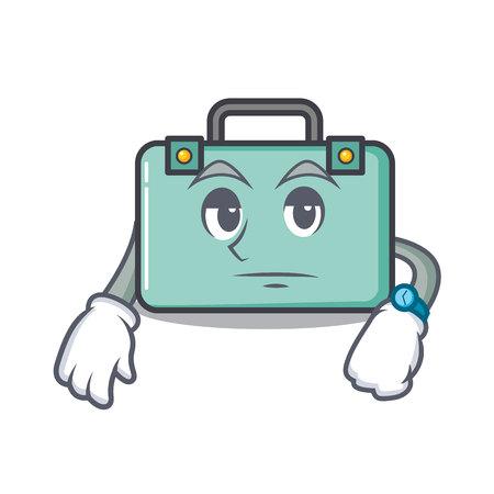 Waiting suitcase mascot cartoon style vector illustration